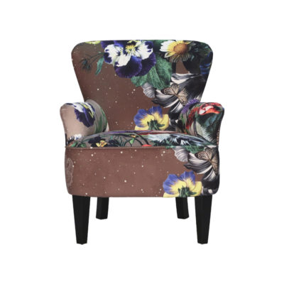 fauteuil marron fleurs