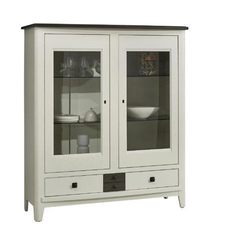 vitrine chene massif blanc gris