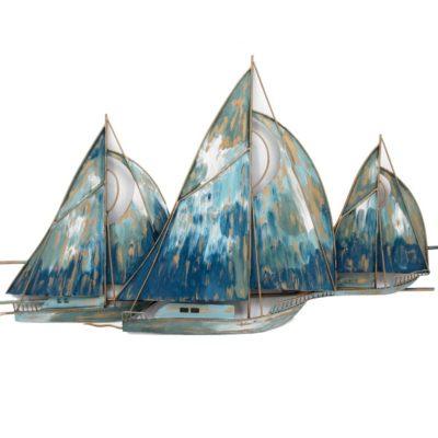 sculpture-murale-metal-bateau-regate-voiliers-bleu-esprit-marin-mer