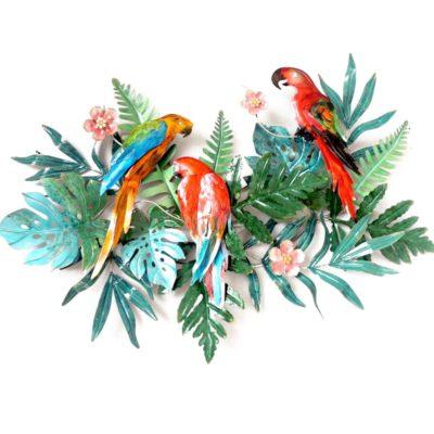 Sculpture murale metal perroquets et feuillage tropical