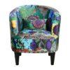 Petit fauteuil ARMONY tissu motif bleu-violet