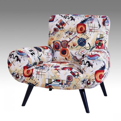 Fauteuil moderne CALIPSO tissu arty