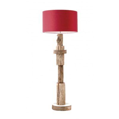 Lampadaire naturel en bois, abat-jour rouge H.152cm – KUMYA