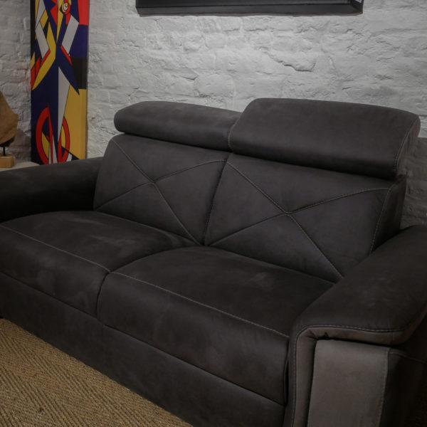Fauteuil confort ANAIS - version fixe, 2 places en tissus gris. PRIX DESTOCKAGE : 899 € au lieu de 1499 € !