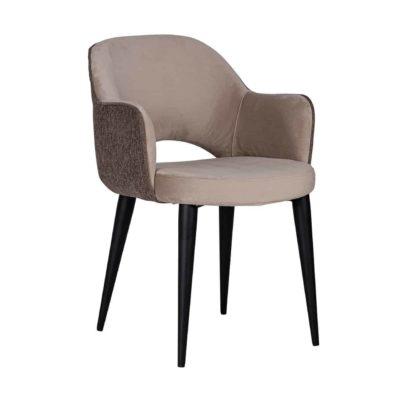 Chaise design avec accoudoirs pieds métal noir assise tissu taupe, gris, bleu, ocre ou rose– Richmond Interiors – GIOVANNA