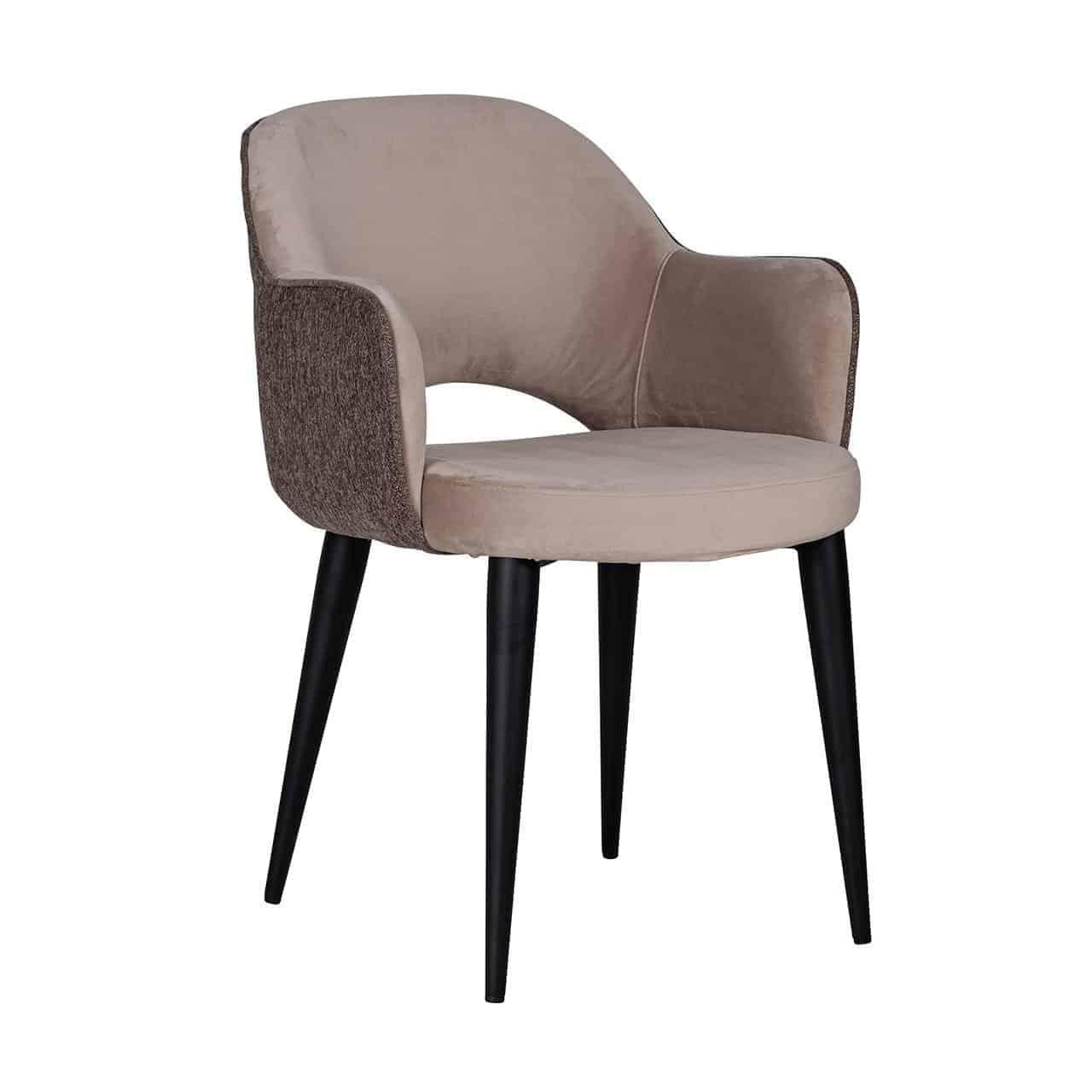 Salle A Manger Gris Taupe: Chaise Design Avec Accoudoirs Pieds Métal Noir Assise