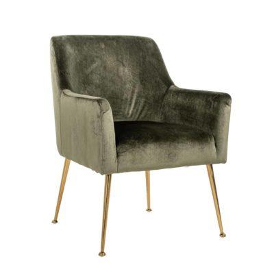 Chaise en tissu velours vert, noir, gris ou bouclé blanc pieds métal or – Richmond Interiors –  HARPER